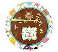 """Who Loves You Owl Design 18"""" Mylar Foil Baby Shower Party Balloon"""