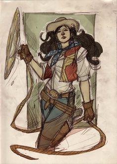 denis medri artworks: Justice League Western Re-Design : Wonder Woman