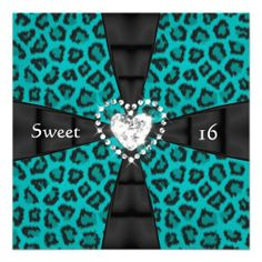 Leopard Teal Sweet 16 Sixteen Birthday Party Invite