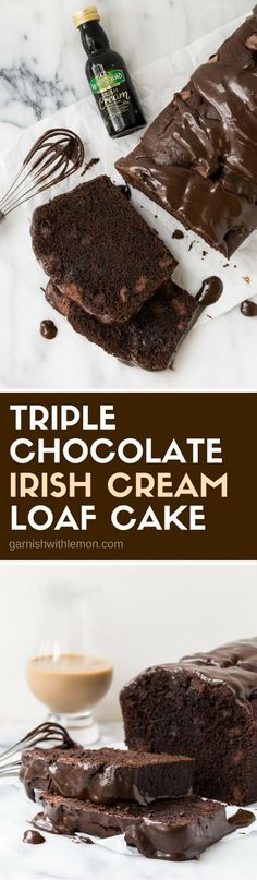 Why choose between dessert and an after dinner drink when you can have both in this decadent Triple Chocolate Irish Cream Loaf Cake? #chocolate #irishcream #desserts #baking #kerrygold #easyentertaining #cake