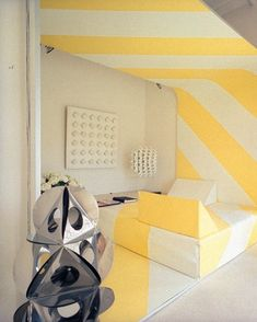 A boldly graphic, Op Art–style bedroom in the home of French interior designer François Catroux.   Photographed by Horst P. Horst, Vogue, February 1970.