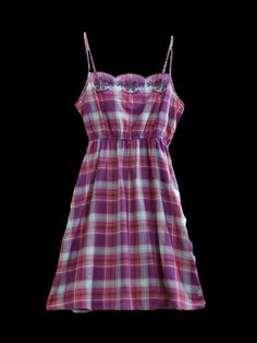 Tin Haul® Berry Mint Plaid Embroidered Spaghetti Strap Cowgirl Dress