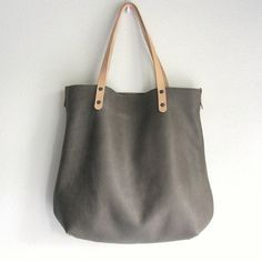 Leather Tote bag / large shopper BIG and zipper pouch in gray and nude, handmade by rinarts