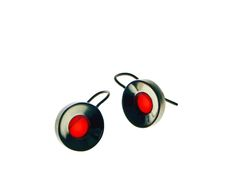 earrings 'concave red', silver, acrylic glass