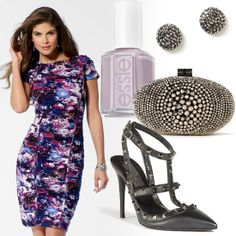 Floral dress, pave earrings and bejeweled clutch from Caché, Nail Polish by Essie in Lilacism #HeadToToeThursday
