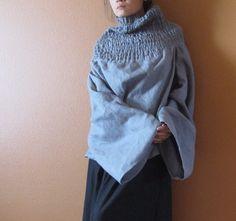 hecho a mano a medida vestido y lino fruncido tortuga cuello Tapa reversible