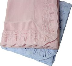 Cotton Jersey Knitted Scallop Lace Border Blanket by ASI