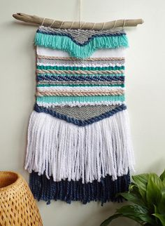 Blue and grey woven wall hanging weaving / large wall art