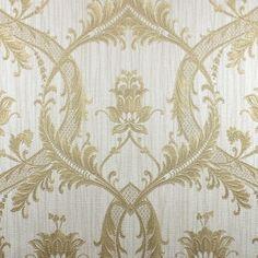 Milano Damask Glitter Wallpaper Cream / Gold - Wallpaper from I love wallpaper UK Scenic Wallpaper, Waves Wallpaper, Trellis Wallpaper, Damask Wallpaper, Wallpaper Panels, Wallpaper Samples, Vinyl Wallpaper, Wallpaper Roll, Bedroom Wallpaper