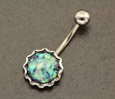 Fire Opal Belly Button Ring. Opal Belly Ring. Boho Belly