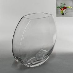 Tall Flattened Oval Glass Vase - Wholesale Flowers and Supplies Fish Bowl Vases, Glass Fish Bowl, Fishbowl Centerpiece, Wholesale Flowers And Supplies, Wholesale Vases, Wine Glass, Glass Vase, Contemporary Vases, Clear Vases