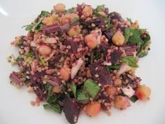 Blushing Quinoa, Roasted Beet, and Feta Salad with Chick Peas and Honey Balsamic Vinaigrette | For The Love of Fiber