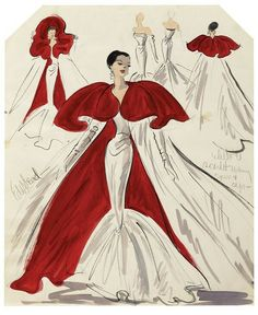 Edith Head Cotoure - Scarlett Red  cape over this Classic Mermaid gown. Pure Elegance... Timeless