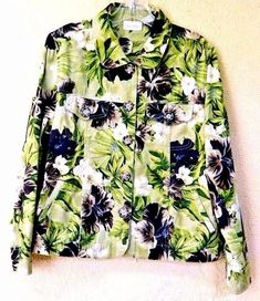 Studio Works L Jean Style Jacket Green/Multi Tropical Floral Pockets Buttons L/S #StudioWorks #JeanJacket #Casual