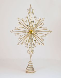15 Inch Christmas Golden Tree Topper with Jeweled Center *** More infor at the link of image : Garden Christmas Decorations Tabletop Christmas Tree, Christmas Tree Toppers, Christmas Crafts, Christmas Decorations, Xmas, Golden Tree, How To Get Warm, Ceiling Lights, Candles