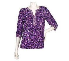 Susan Graver Liquid Knit Printed Top with Ruched Neckline