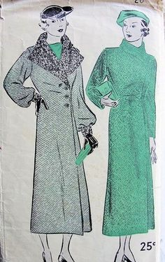 1930s ART DECO COAT PATTERN SIDE CLOSING FULL or REGULAR SLEEVES ULTRA CHIC STYLE EXCELLA  5145 Bust 38