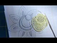 Video-tutorial Nº16/1 CROCHET IRLANDES Como tejer desde un dibujo. Flor a crochet desde el dibujo - YouTube