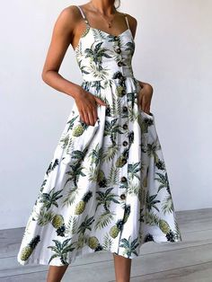 Shop Casual Tropical Button Front Party Wear Midi Dress