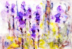 "Saatchi Online Artist Karin Roetsch Johannesson; Painting, ""Irises"" #art"