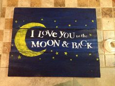 Love you to moon and back reclaimed wood pallet sign