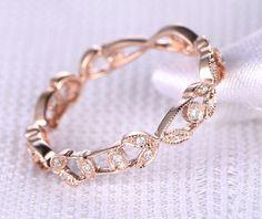 Plein anneau de mariage de diamant éternité, Milgrain filigrane, bague d