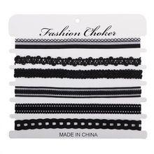 6 ks / Set Dámska čipka Chockers Trendy Bijoux Femme čipka Chokers Náhrdelníky pre ženy Collares Mujer Elastic náhrdelníky Choker (Čína)