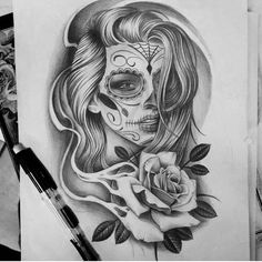 100 trendy tattoo ideas for your best inspired 2019 - drawings, fantas . - 100 trendy tattoo ideas for your best inspired 2019 – drawings, fantasy and tattoos – - Chicano Tattoos, Kunst Tattoos, Leg Tattoos, Body Art Tattoos, Girl Tattoos, Sugar Skull Girl Tattoo, Girl Face Tattoo, Stencils Tatuagem, Tattoo Stencils
