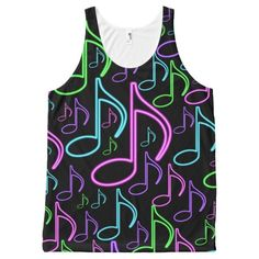 Cool and Fun Neon Music Note Collage All-Over Print Tank Top Tank Tops