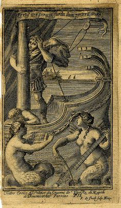 Sirens play music to Ulysses. Francesco de Grado. engrav. 1692-1700 Naples.