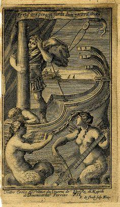 Sirens play music to Ulysses. Francesco de Grado. engrav. 1692-1700 Naples.