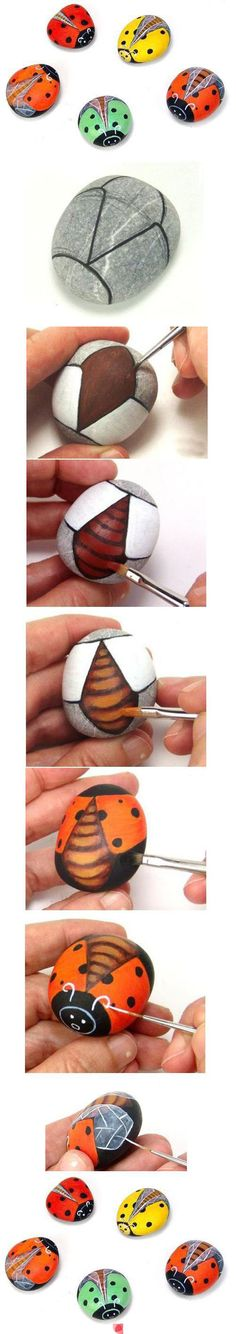 How to paint a cute bug on a rock.