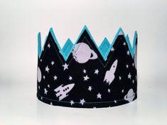 Galaxy Birthday Crown, Outer Space Birthday, Boys Birthday Crown, Rocket Ship Party Hat, Spaceship Birthday, Boys First Birthday Photo Shoot