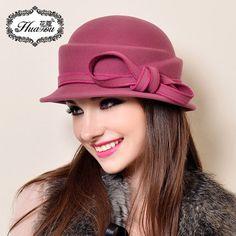 冬季帽子女秋冬韩版潮 羊毛呢盆帽英伦复古圆顶礼帽 冬天帽子女帽