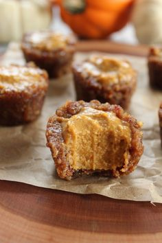 No Bake Pumpkin Pie Cups ... Ingredients include: coconut butter (not oil), pumpkin puree, maple syrup, spices, dates and pecans.