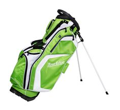 With a four way padded carry strap these mens hot launch golf stand bags by Tour Edge also provide a waterproof velour-lined dry pocket to protect valuables