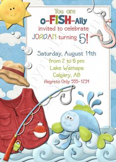 Fishing Birthday Invitation Fishing Party by ForeverYourPrints