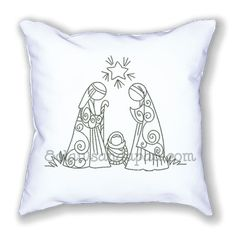 Redwork Peaceful Night Nativity Embroidery Design