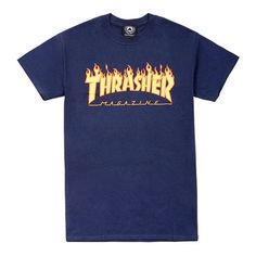 THRASHER (105 BRL) ❤ liked on Polyvore featuring tops, t-shirts, shirts, blue patterned shirt, shirt tops, pattern t shirt, pattern shirt and patterned tops