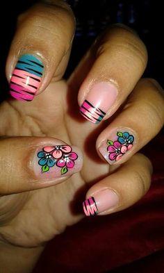 Imagenes Diy Nail Designs, Flower Nail Art, Nail Stamping, Manicure And Pedicure, Diy Nails, Erika, Margarita, Diana, Beauty