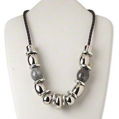 Necklace, silver-finished steel / silver-coated plastic / glazed porcelain / plastic cord, brown and grey, 34x14mm rondelle, 22 inches with lobster claw clasp and 2-inch extender chain. Sold individually.