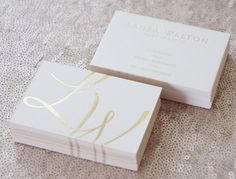 Gold foil and light pink business cards