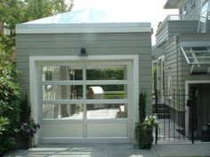 glass garage door for the side facing the yard