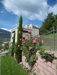 Blick vom Wellnessgarten auf den neuen SPA Tower Juni, Arch, Sidewalk, Spa, Outdoor Structures, Garden, Recovery, Interesting Facts, Italy