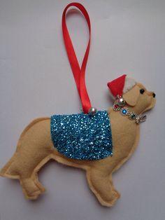 Handmade felt Christmas Golden retriever dog hanging decoration by CraftyBunnyDog on Etsy