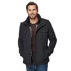 John Rocha - Grey checked coat with wool Debenhams, Dan, Leather Jacket, Wool, Grey, Jackets, Shopping, Clothes, Fashion