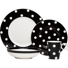 Red Vanilla Freshness Mix & Match Dots Black 4-piece Place Setting... ($58) ❤ liked on Polyvore featuring home, kitchen & dining, dinnerware, black, microwave safe bowl, microwave safe dinnerware, polka dot dinnerware, black and white china and black and white dinner plates