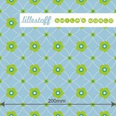 Lillestoff * Blomma , bleu * Blumen Dots Punkte BIO Jersey Stoff Coupon