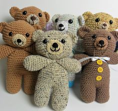 Oatmeal bears, made using this crochet pattern: http://www.ravelry.com/patterns/library/oatmeal-the-teddy-bear