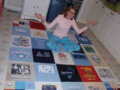 UNC Sorority T-shirt Quilt with step-by-step photos   # Pin++ for Pinterest #